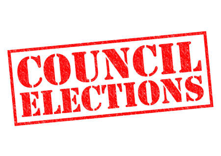 local government: COUNCIL ELECTIONS red Rubber Stamp over a white background.