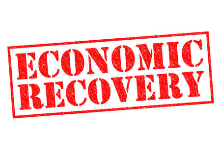 economic recovery: ECONOMIC RECOVERY red Rubber Stamp over a white background.