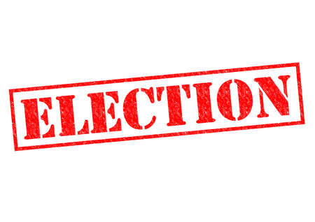 local council election: ELECTION red Rubber Stamp over a white background.
