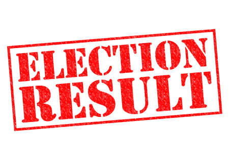 ELECTION RESULT red Rubber Stamp over a white background. photo