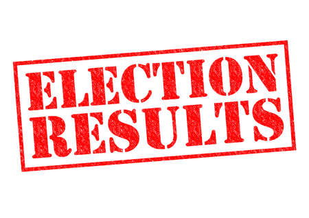 turnout: ELECTION RESULTS red Rubber Stamp over a white background.