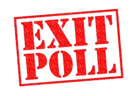local council election: EXIT POLL red Rubber Stamp over a white background.
