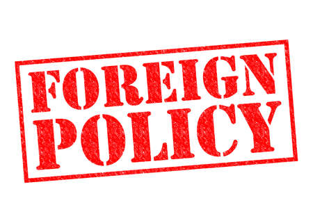 foreign policy: FOREIGN POLICY red Rubber Stamp over a white background.
