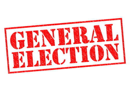 GENERAL ELECTION red Rubber Stamp over a white background. photo