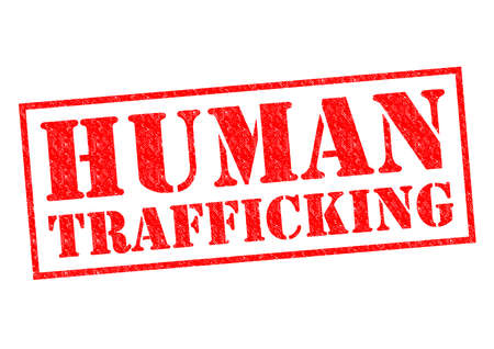 human trafficking: HUMAN TRAFFICKING red Rubber Stamp over a white background. Stock Photo