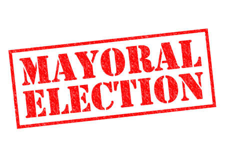 mayoral: MAYORAL ELECTION red Rubber Stamp over a white background.