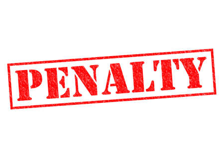 fined: PENALTY red Rubber Stamp over a white background. Stock Photo