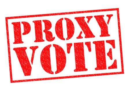 local council election: PROXY VOTE red Rubber Stamp over a white background.