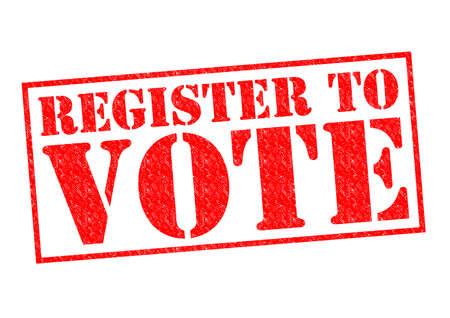 白い背景の上登録投票する赤ゴム印。