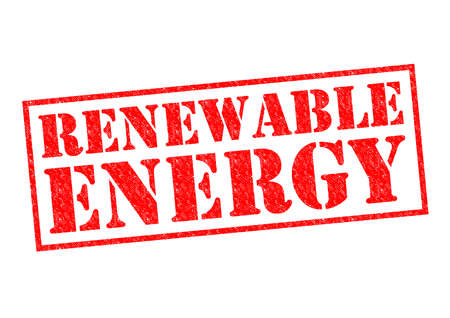 RENEWABLE ENERGY red Rubber Stamp over a white background. photo