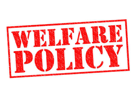 nhs: WELFARE POLICY red Rubber Stamp over a white background.