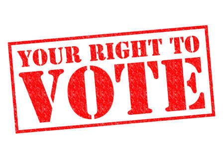 YOUR RIGHT TO VOTE red Rubber Stamp over a white background. photo