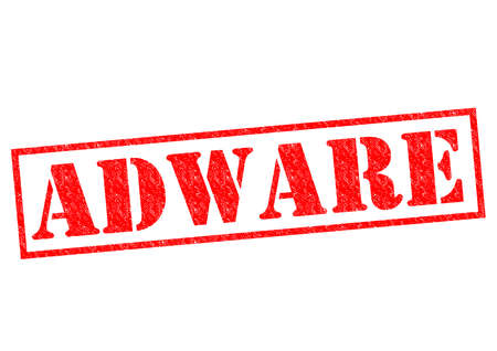 adware: ADWARE red Rubber Stamp over a white background.