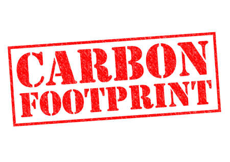 CARBON FOOTPRINT red Rubber Stamp over a white background. photo