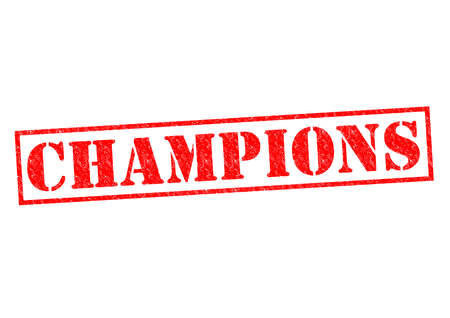 CHAMPIONS red Rubber Stamp over a white background. photo