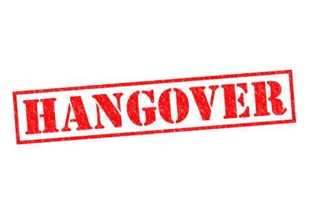 HANGOVER red Rubber Stamp over a white background.