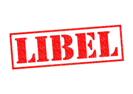 unethical: LIBEL red Rubber Stamp over a white background.