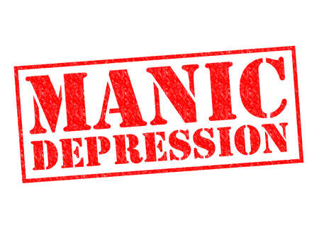 manic: MANIC DEPRESSION red Rubber Stamp over a white background. Stock Photo