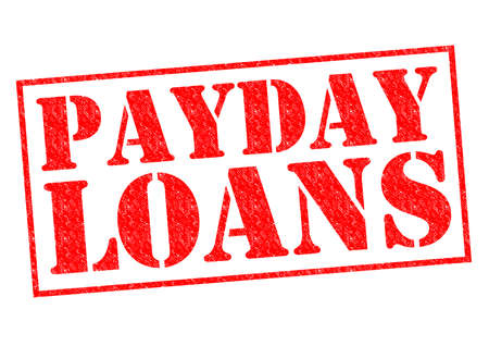 payday: PAYDAY LOANS red Rubber Stamp over a white background.