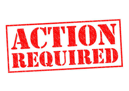 ACTION REQUIRED red Rubber Stamp over a white background.