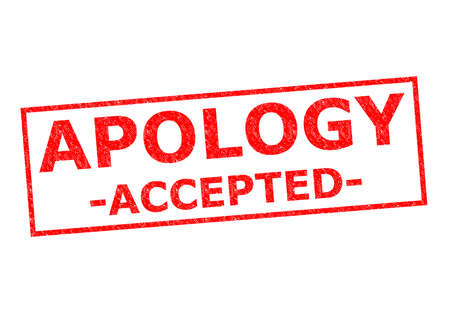 apology: APOLOGY ACCEPTED red Rubber Stamp ver a white background. Stock Photo