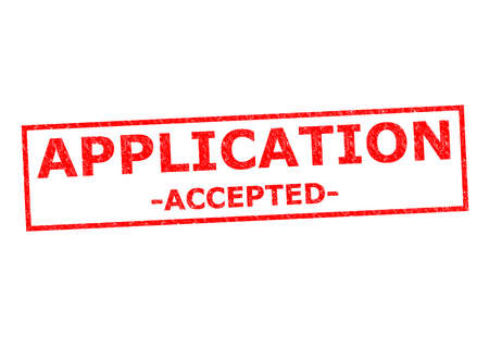 APPLICATION ACCEPTED red Rubber Stamp over a white background. photo