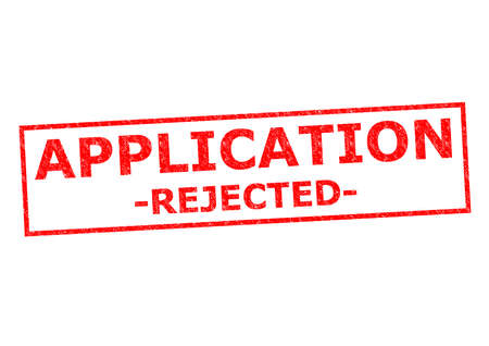 refused: APPLICATION REJECTED red Rubber Stamp over a white background.