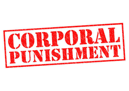 capital punishment: CORPORAL PUNISHMENT red Rubber Stamp over a white background. Stock Photo