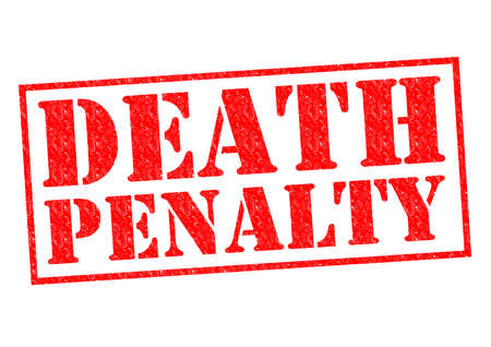 capital punishment: DEATH PENALTY red Rubber Stamp over a white background.