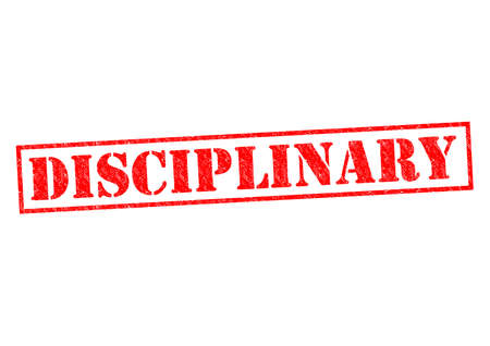 disciplinary action: DISCIPLINARY red Rubber Stamp over a white background. Stock Photo