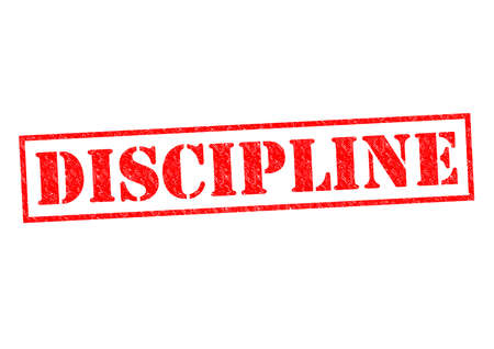 disciplinary action: DISCIPLINE red Rubber Stamp over a white background.