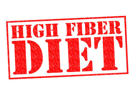 ibs: HIGH FIBER DIET red Rubber Stamp over a white background.