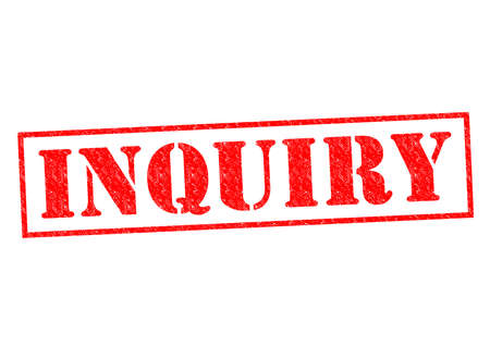 scrutinise: INQUIRY red Rubber Stamp over a white background.
