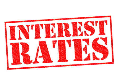 INTEREST RATES red Rubber Stamp over a white background. 스톡 콘텐츠
