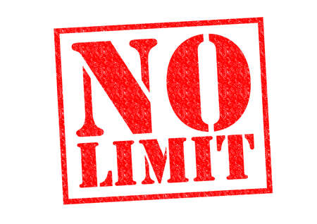 NO LIMIT red Rubber Stamp over a white background. Фото со стока