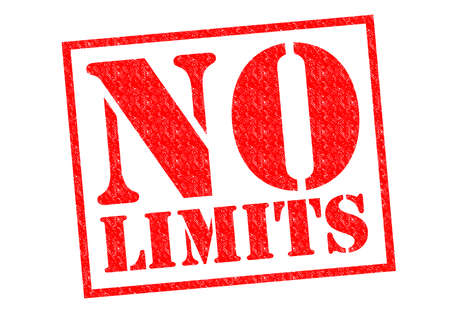 lasting: NO LIMITS red Rubber Stamp over a white background. Stock Photo