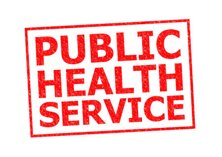 nhs: PUBLIC HEALTH SERVICE red Rubber Stamp over a white background.