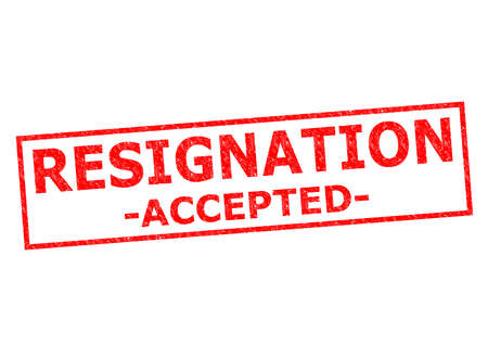 accepted label: RESIGNATION ACCEPTED red Rubber Stamp over a white background.