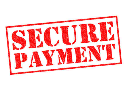 secured payment: SECURE PAYMENT red Rubber Stamp over a white background. Stock Photo