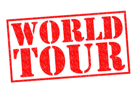 WORLD TOUR red Rubber Stamp over a white background. photo