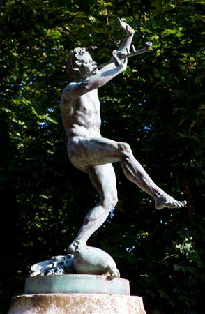The Faune Dansant (Dancing Faun) statue by sculptor Eugne-Louis Lequesne in Pariss Jardin du Luxembourg. Stock Photo