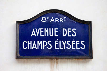 Street sign for Avenue des Champs-Elysees in Paris.