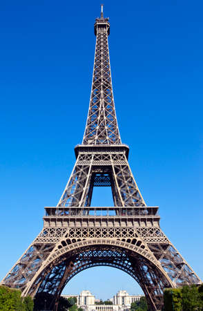 The magnificent Eiffel Tower in Paris, viewed from the Champ des Mars. photo