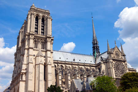 ile de la cite: The beautiful Notre Dame Cathedral in Paris. Stock Photo
