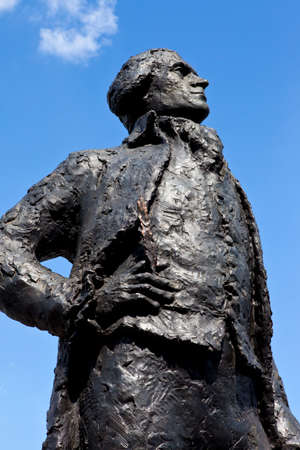 founding fathers: A statue dedicated to American Founding Father and third President of the United States, Thomas Jefferson, situated on the banks of the river Seine in Paris. Stock Photo