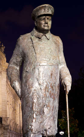 palais: A statue of former British Prime Minister Sir Winston Churchill, situated outside the Petit Palais in Paris, France.