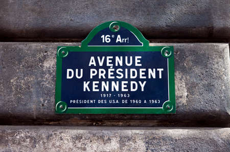 streetsign: A street sign for Avenue du President Kennedy in Paris, named after the 35th President of the United States - John F. Kennedy.