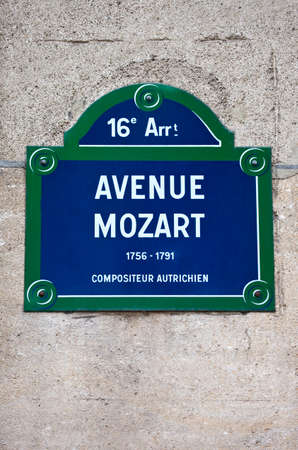 amadeus: A street sign for Avenue Mozart in Paris, named after famous Austrian Composer Wolfgang Amadeus Mozart.