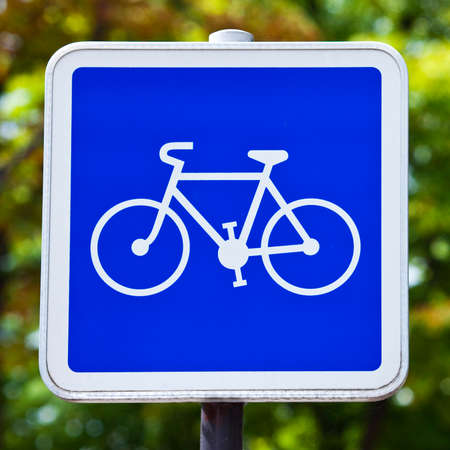 A Cycling Allowed Sign. photo