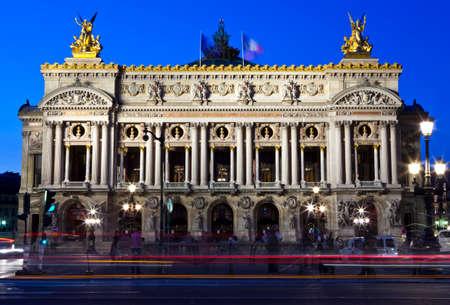 palais garnier: The magnificent Palais Garnier at dusk in Paris, France.  The Palais is a 1,979-seat Opera House built for the Paris Opera.